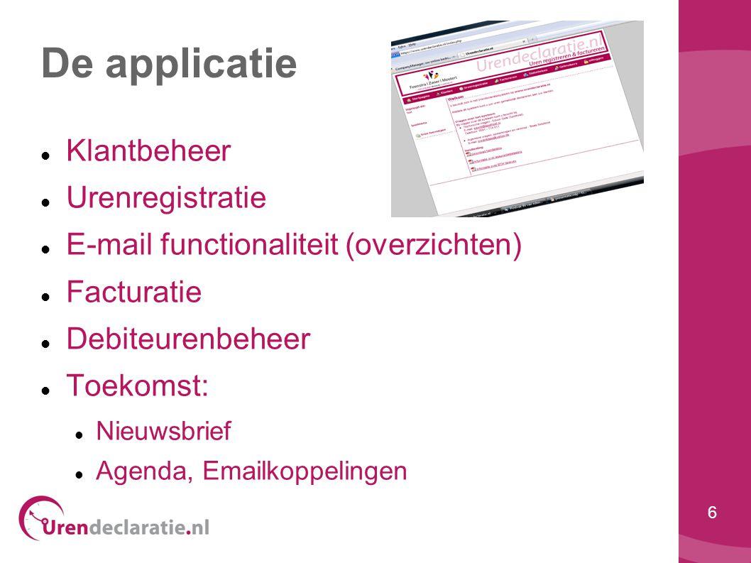 De applicatie Klantbeheer Urenregistratie