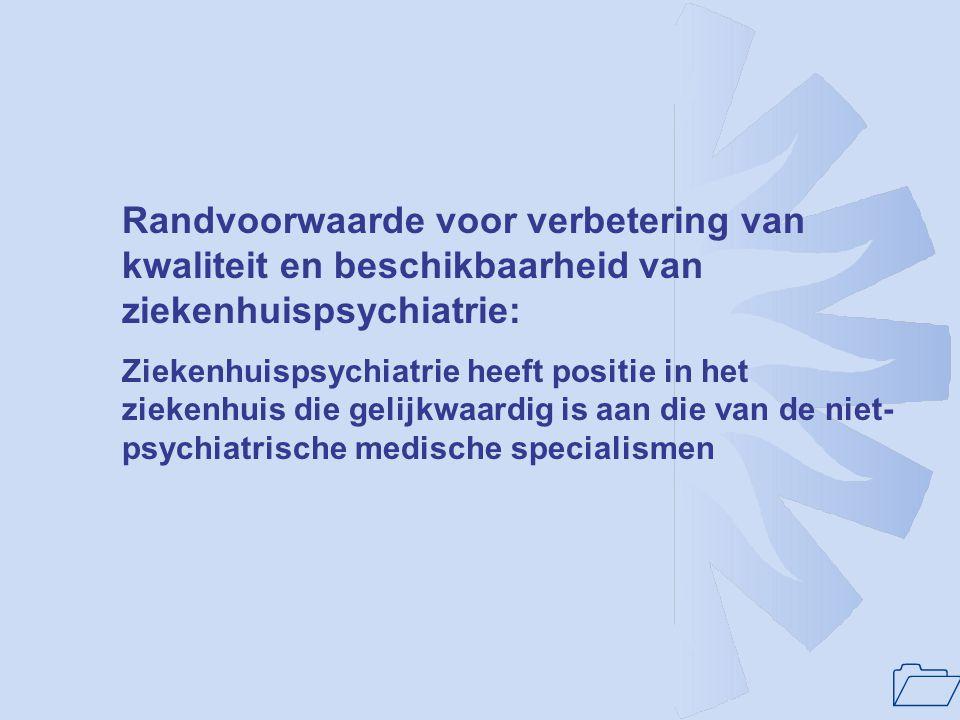 Randvoorwaarde voor verbetering van kwaliteit en beschikbaarheid van ziekenhuispsychiatrie: