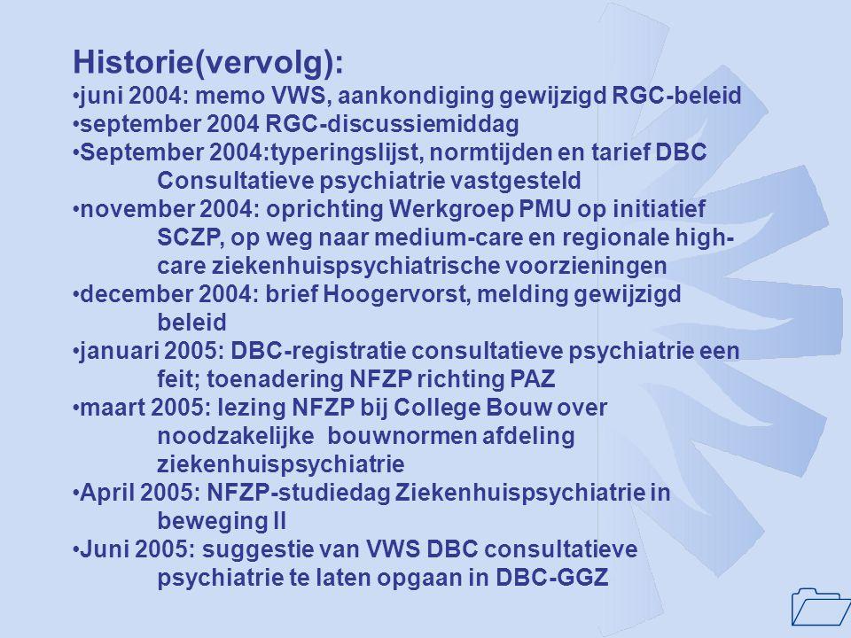 Historie(vervolg): juni 2004: memo VWS, aankondiging gewijzigd RGC-beleid. september 2004 RGC-discussiemiddag.