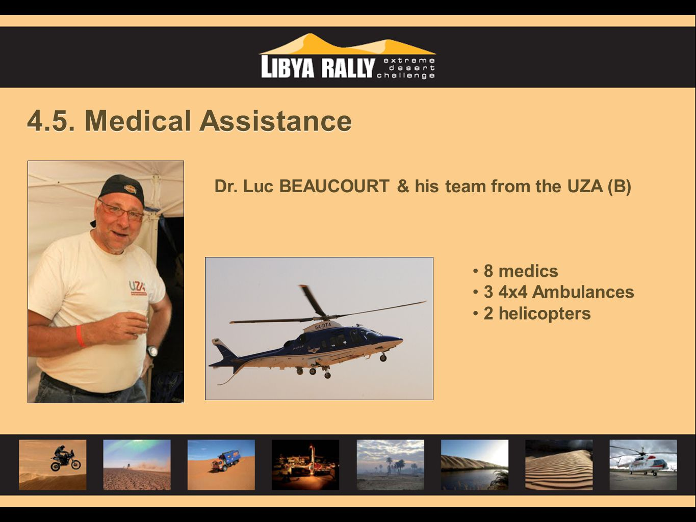 4.5. Medical Assistance Dr. Luc BEAUCOURT & his team from the UZA (B)