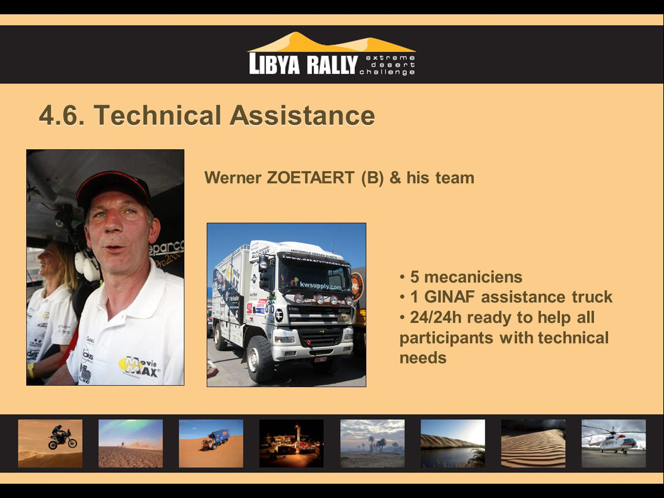 4.6. Technical Assistance Werner ZOETAERT (B) & his team 5 mecaniciens