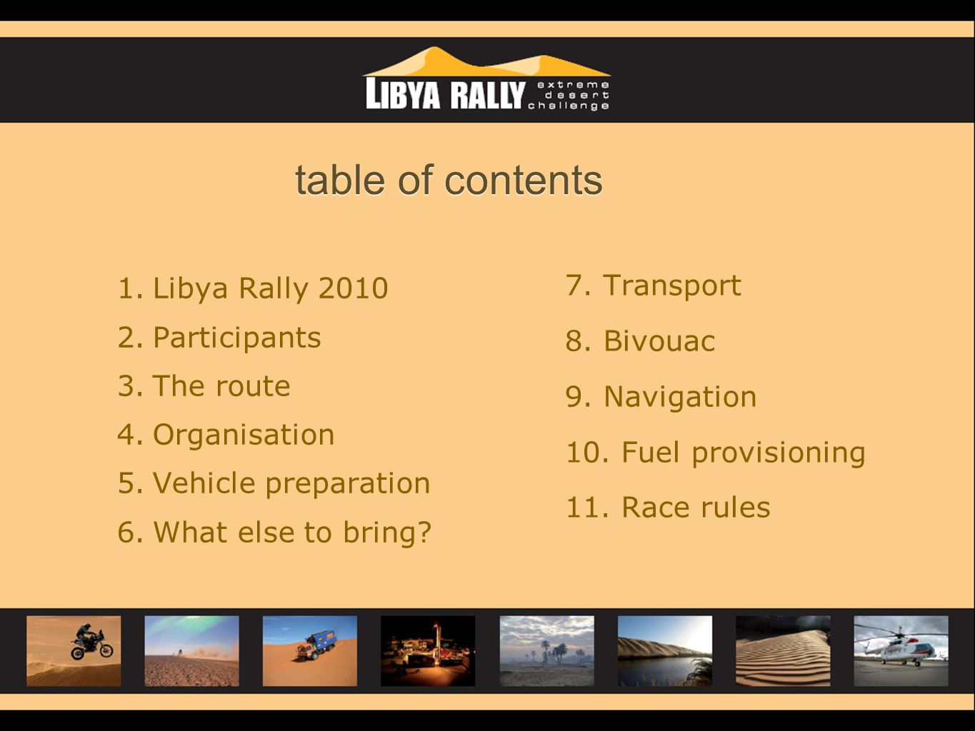 table of contents Libya Rally Transport Participants