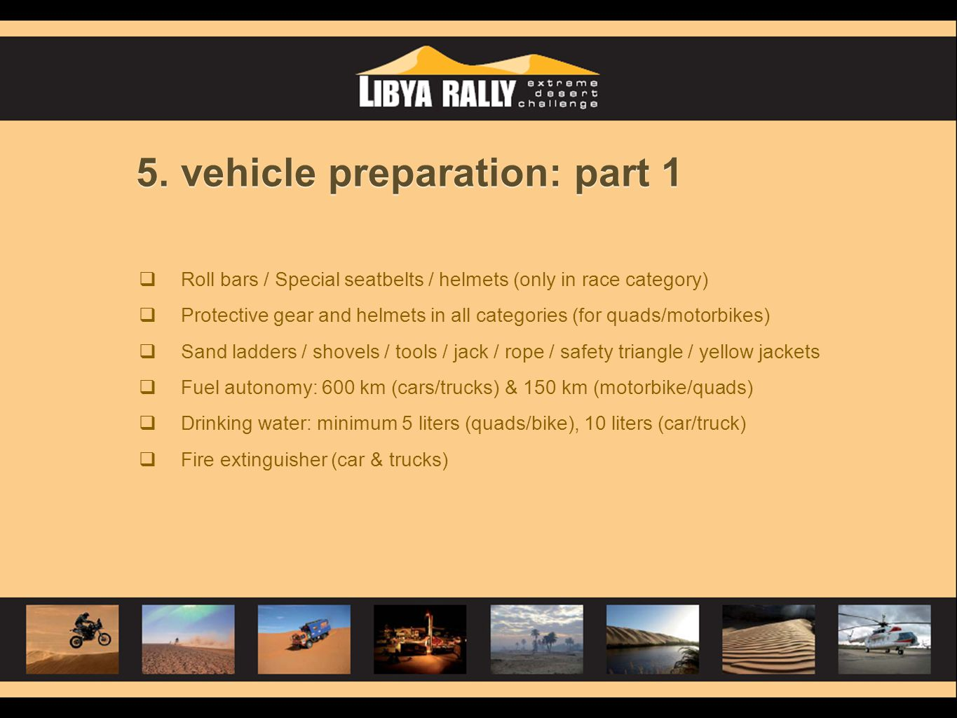 5. vehicle preparation: part 1
