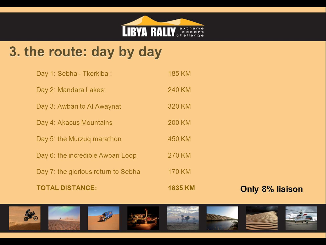 3. the route: day by day Only 8% liaison