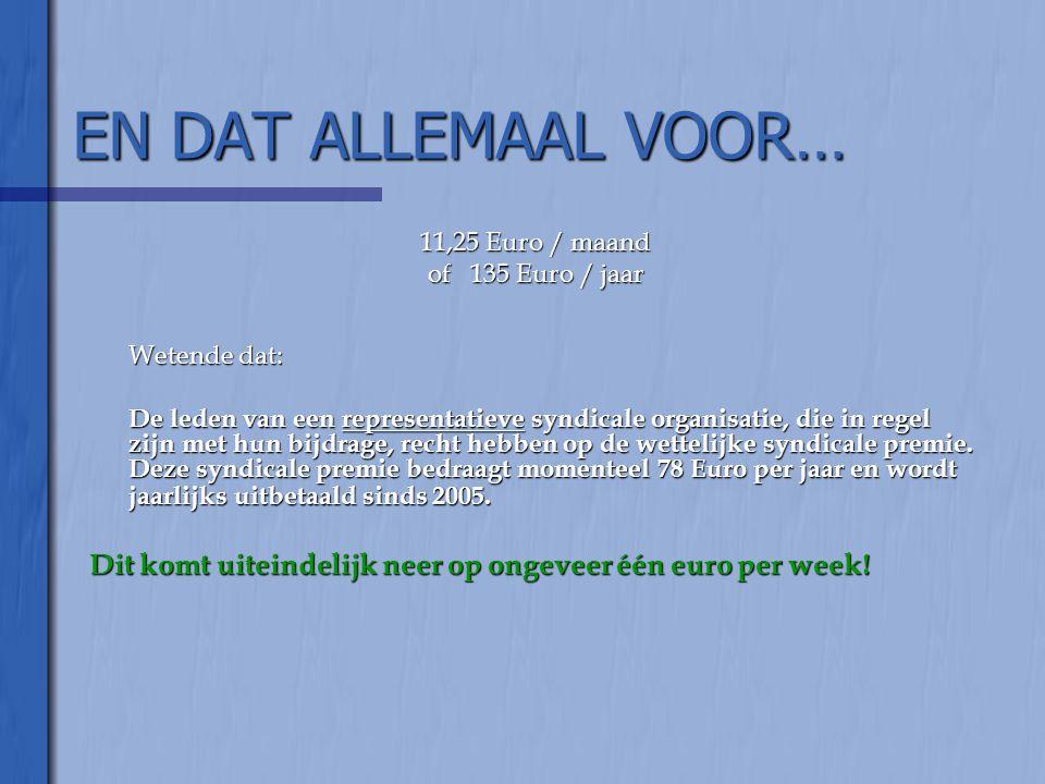 EN DAT ALLEMAAL VOOR… 11,25 Euro / maand. of 135 Euro / jaar. Wetende dat: