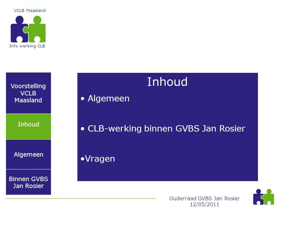 Inhoud Algemeen CLB-werking binnen GVBS Jan Rosier Vragen