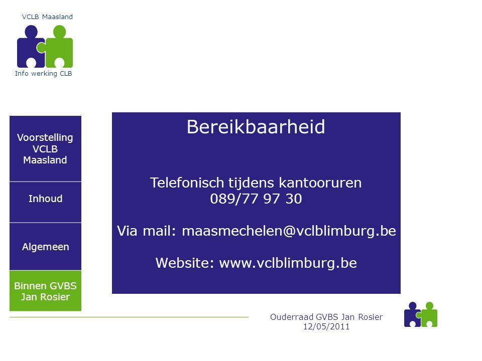 Bereikbaarheid Telefonisch tijdens kantooruren 089/77 97 30