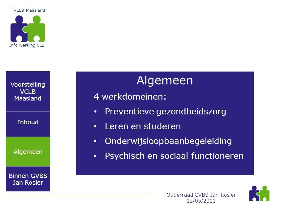 Algemeen 4 werkdomeinen: Preventieve gezondheidszorg Leren en studeren