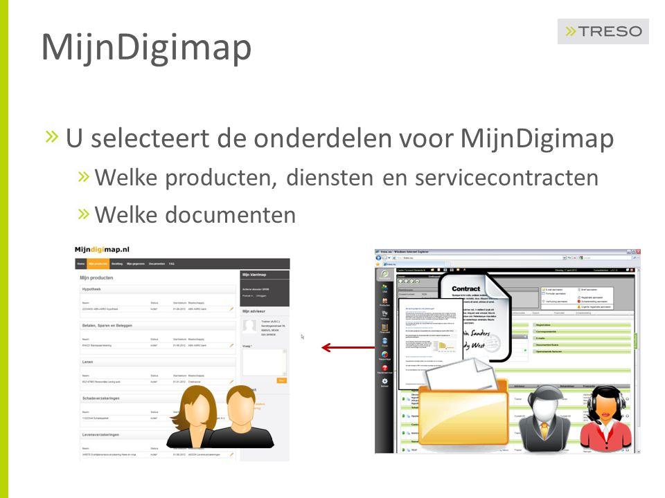 MijnDigimap U selecteert de onderdelen voor MijnDigimap
