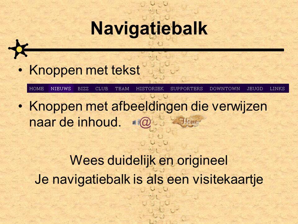 Navigatiebalk Knoppen met tekst