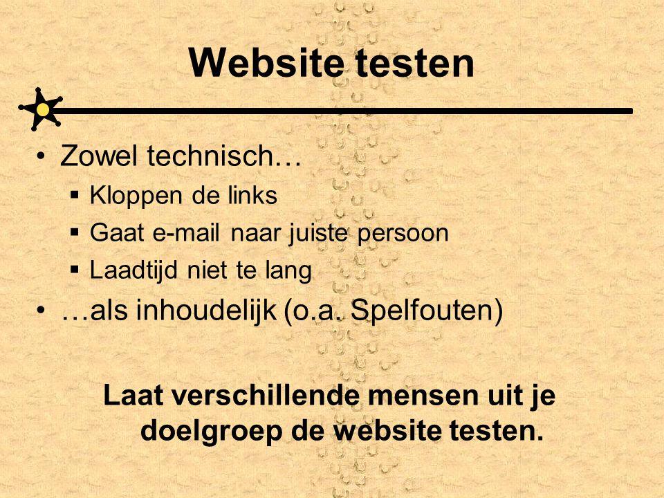 Laat verschillende mensen uit je doelgroep de website testen.