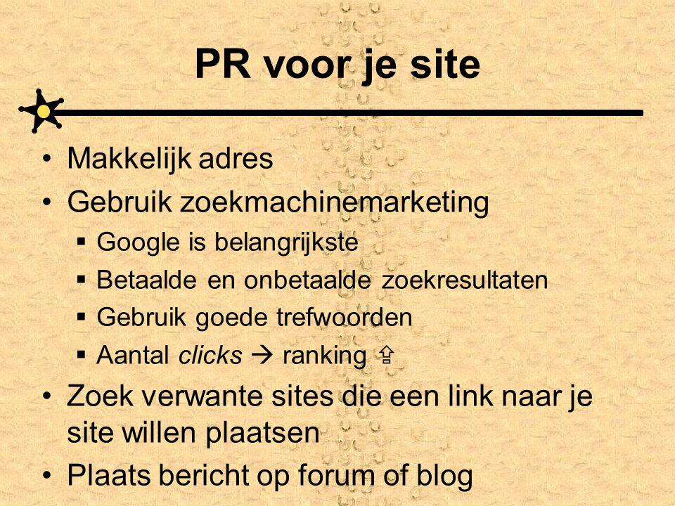 PR voor je site Makkelijk adres Gebruik zoekmachinemarketing