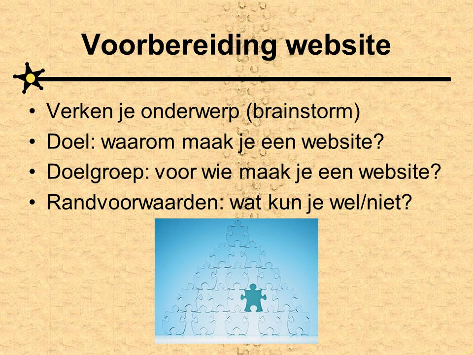 Voorbereiding website