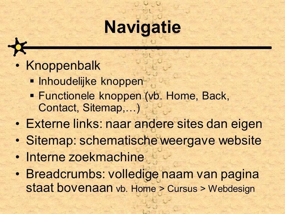 Navigatie Knoppenbalk Externe links: naar andere sites dan eigen