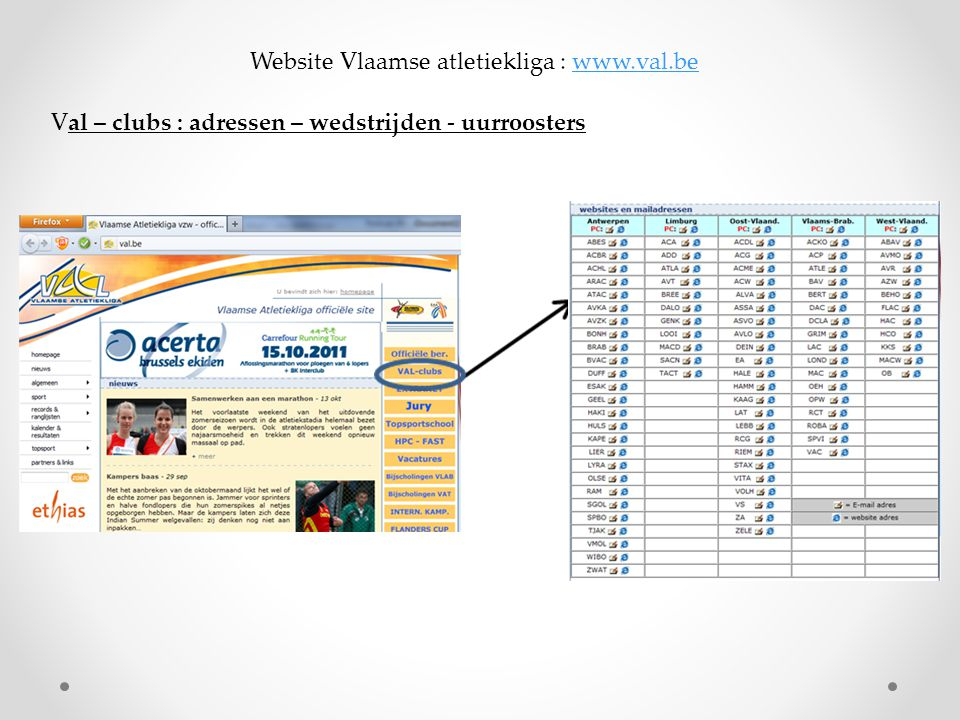 Website Vlaamse atletiekliga : www.val.be
