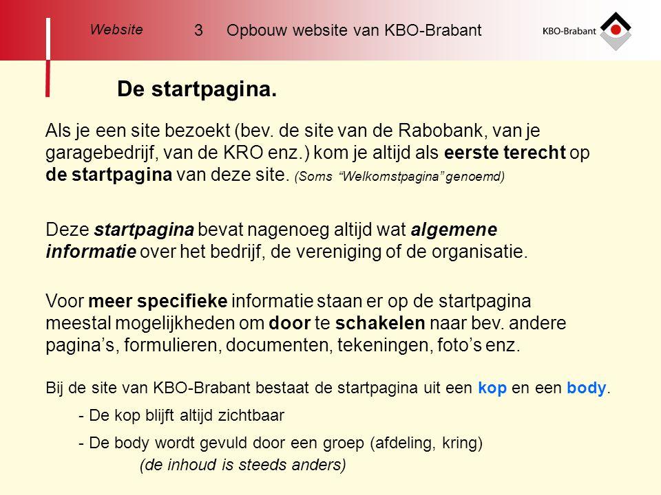 Website 3 Opbouw website van KBO-Brabant. De startpagina.