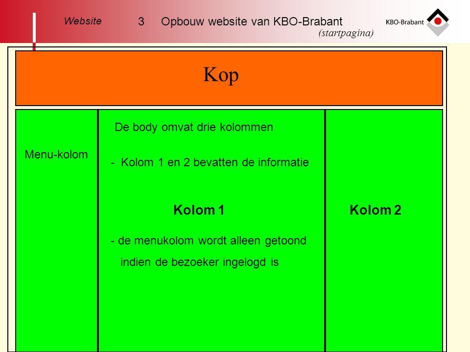 Kop Kolom 1 Kolom 2 3 Opbouw website van KBO-Brabant