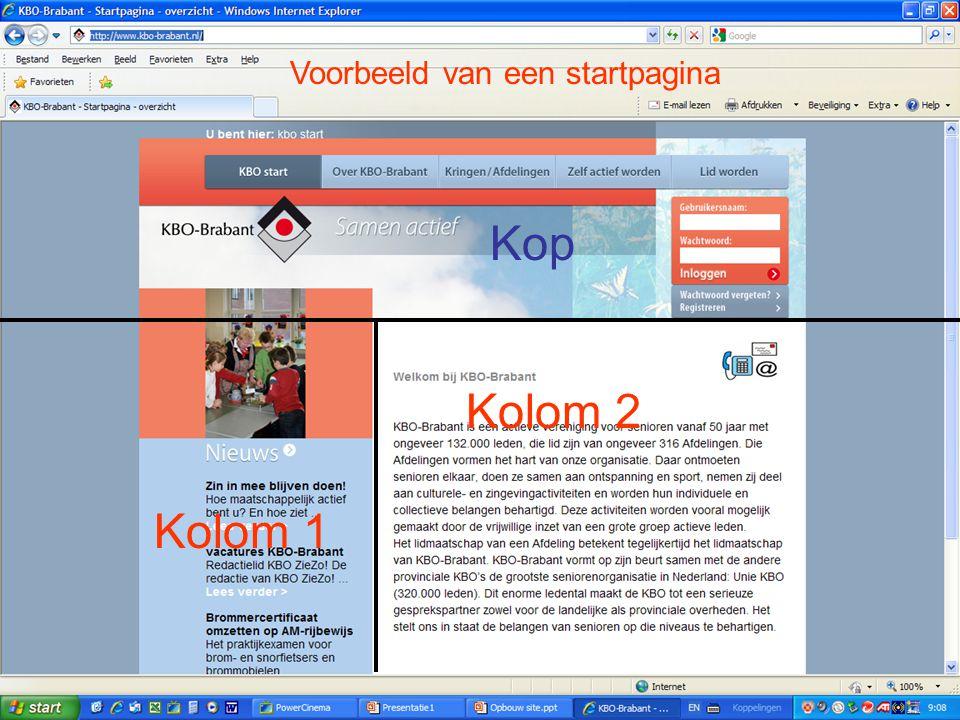 Voorbeeld van een startpagina