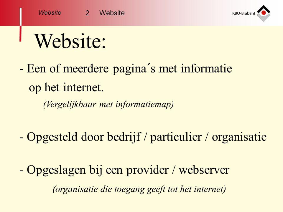 Website: Een of meerdere pagina´s met informatie op het internet.