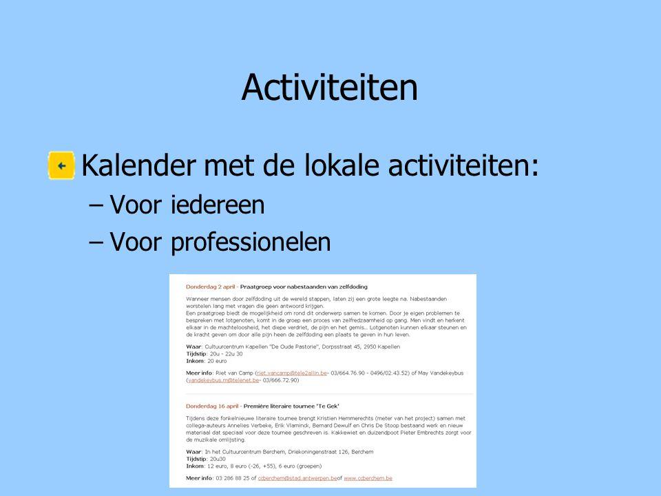 Activiteiten Kalender met de lokale activiteiten: Voor iedereen