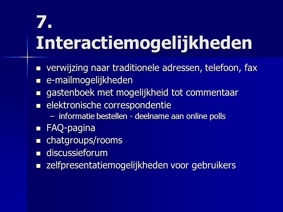 7. Interactiemogelijkheden