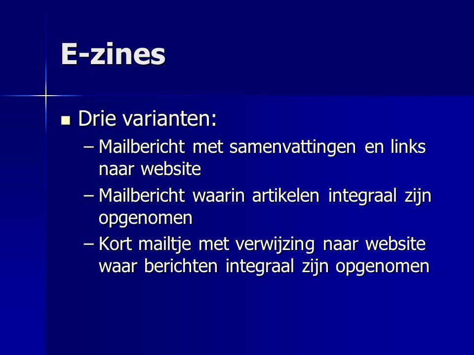 E-zines Drie varianten: