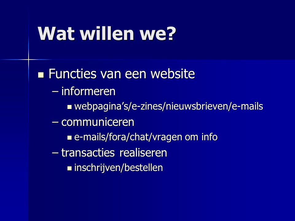 Wat willen we Functies van een website informeren communiceren