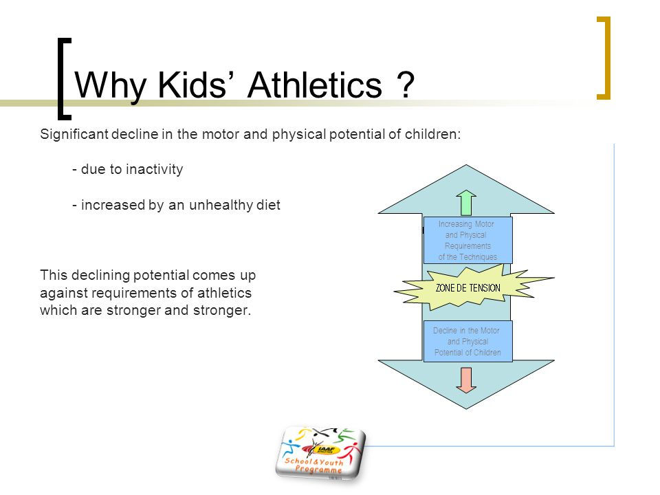 Why Kids' Athletics Significant decline in the motor and physical potential of children: - due to inactivity.