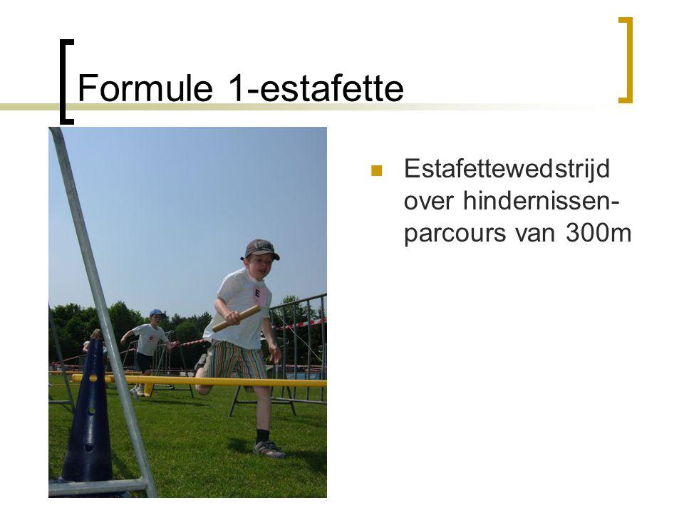 Formule 1-estafette Estafettewedstrijd over hindernissen-parcours van 300m