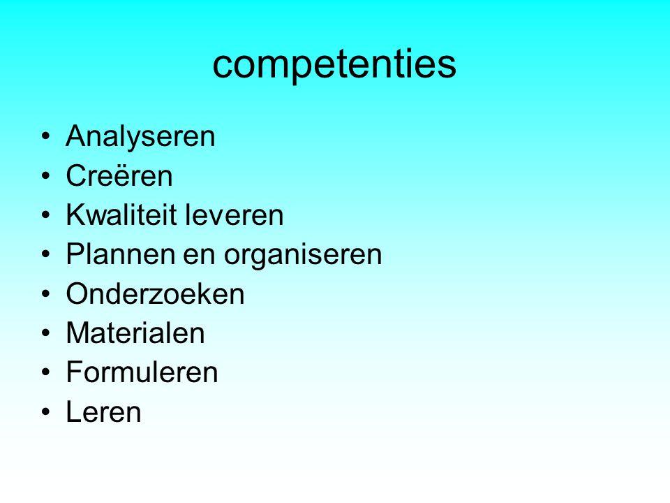 competenties Analyseren Creëren Kwaliteit leveren