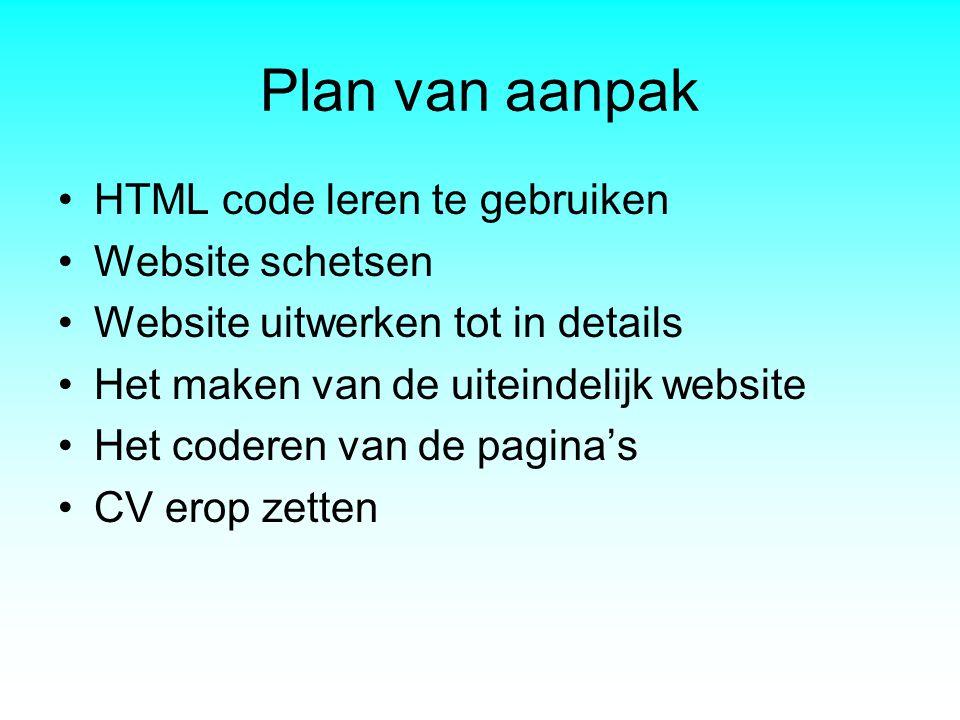 Plan van aanpak HTML code leren te gebruiken Website schetsen