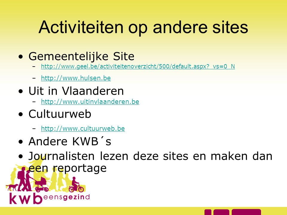 Activiteiten op andere sites