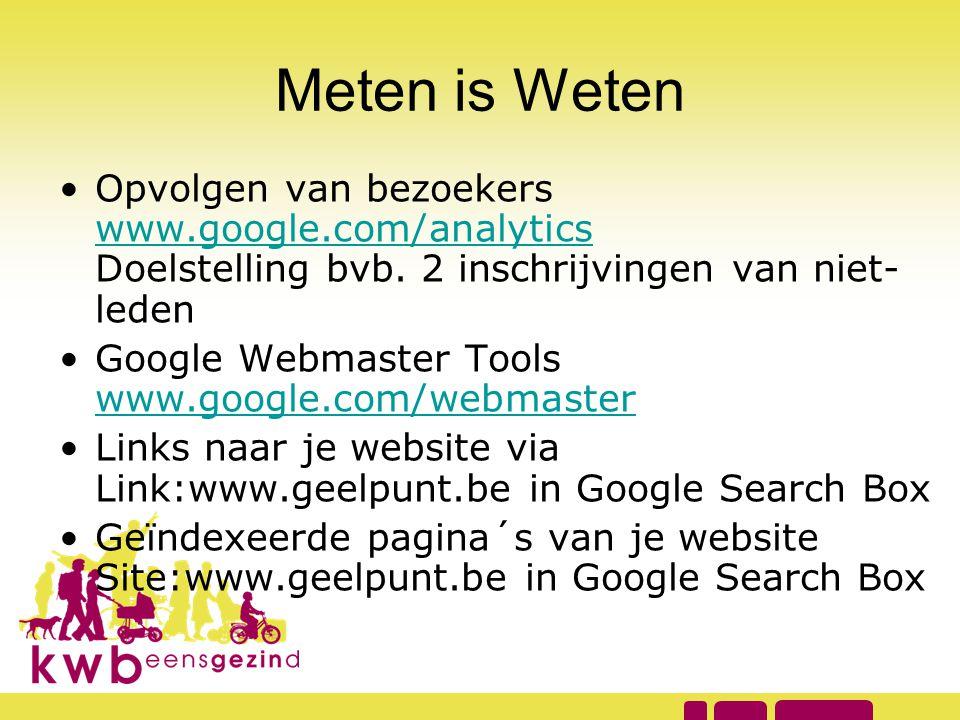 Meten is Weten Opvolgen van bezoekers www.google.com/analytics Doelstelling bvb. 2 inschrijvingen van niet-leden.