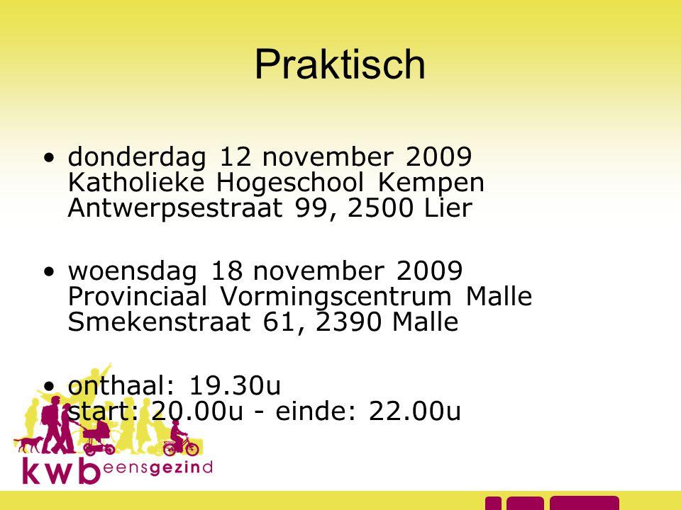 Praktisch donderdag 12 november 2009 Katholieke Hogeschool Kempen Antwerpsestraat 99, 2500 Lier.