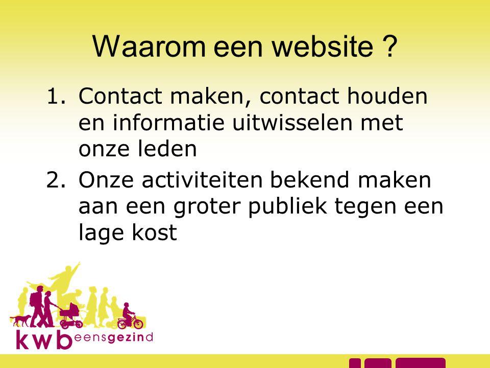 Waarom een website Contact maken, contact houden en informatie uitwisselen met onze leden.