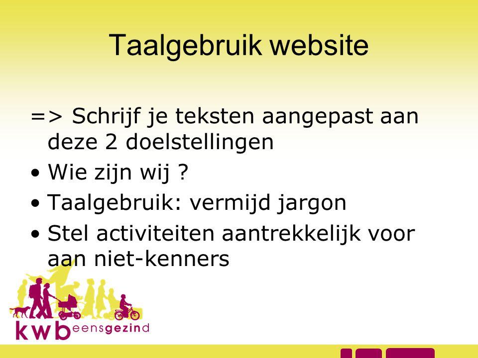 Taalgebruik website => Schrijf je teksten aangepast aan deze 2 doelstellingen. Wie zijn wij Taalgebruik: vermijd jargon.