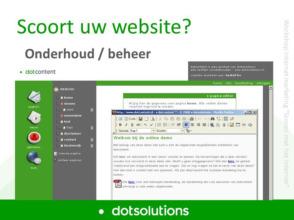 Scoort uw website Onderhoud / beheer