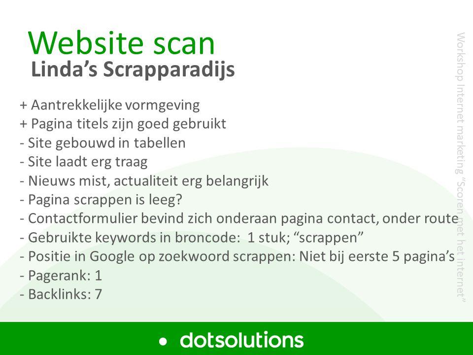 Website scan Linda's Scrapparadijs + Aantrekkelijke vormgeving