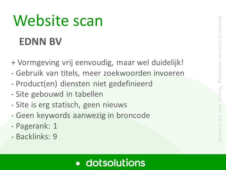 Website scan EDNN BV + Vormgeving vrij eenvoudig, maar wel duidelijk!