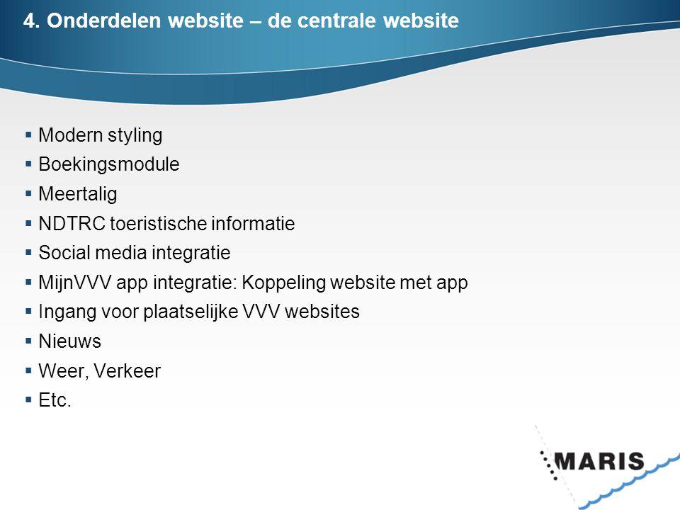 4. Onderdelen website – de centrale website