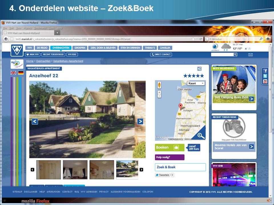 4. Onderdelen website – Zoek&Boek