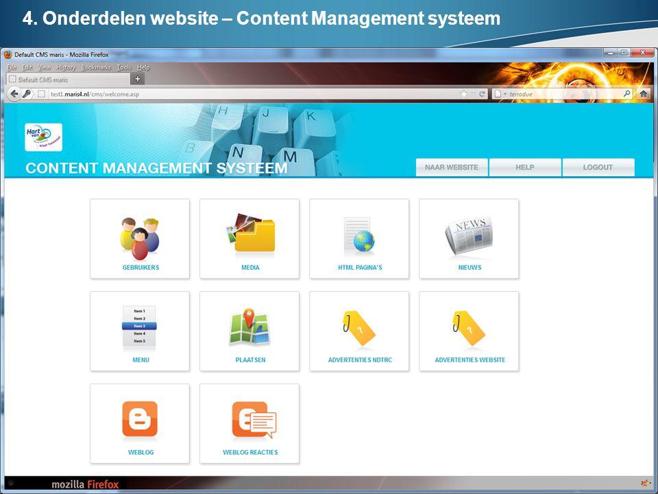 4. Onderdelen website – Content Management systeem
