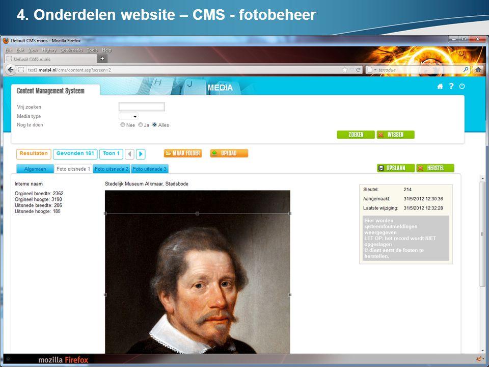 4. Onderdelen website – CMS - fotobeheer