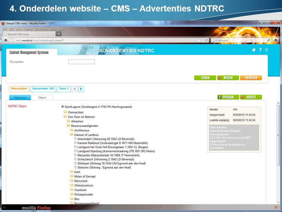 4. Onderdelen website – CMS – Advertenties NDTRC