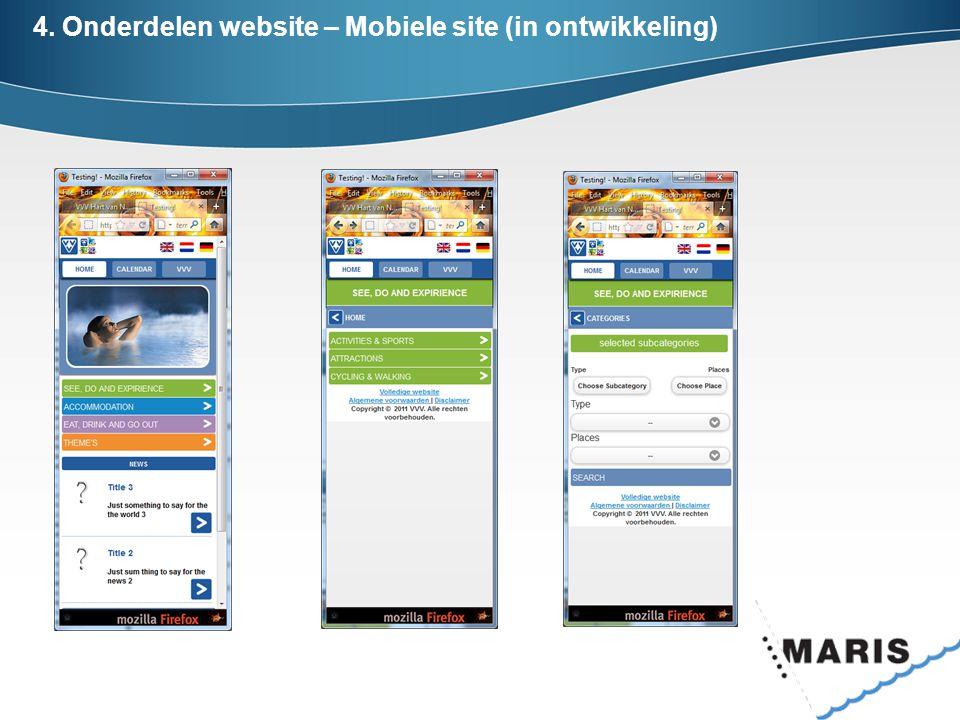 4. Onderdelen website – Mobiele site (in ontwikkeling)