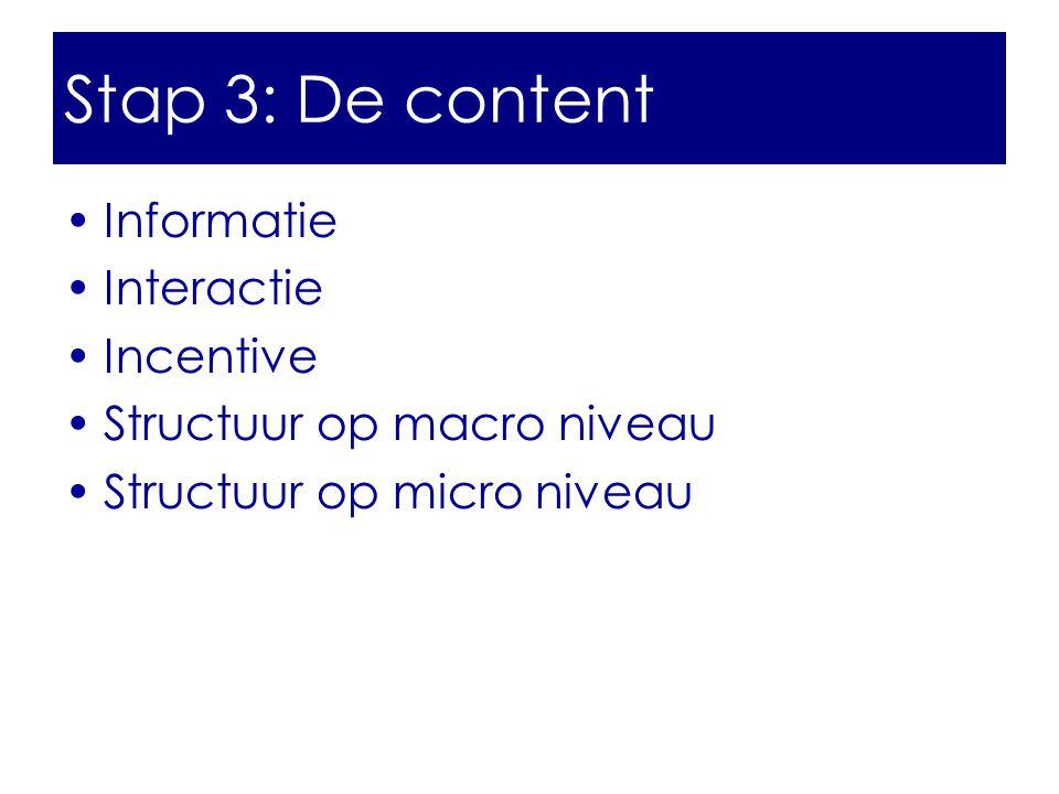 Stap 3: De content Informatie Interactie Incentive