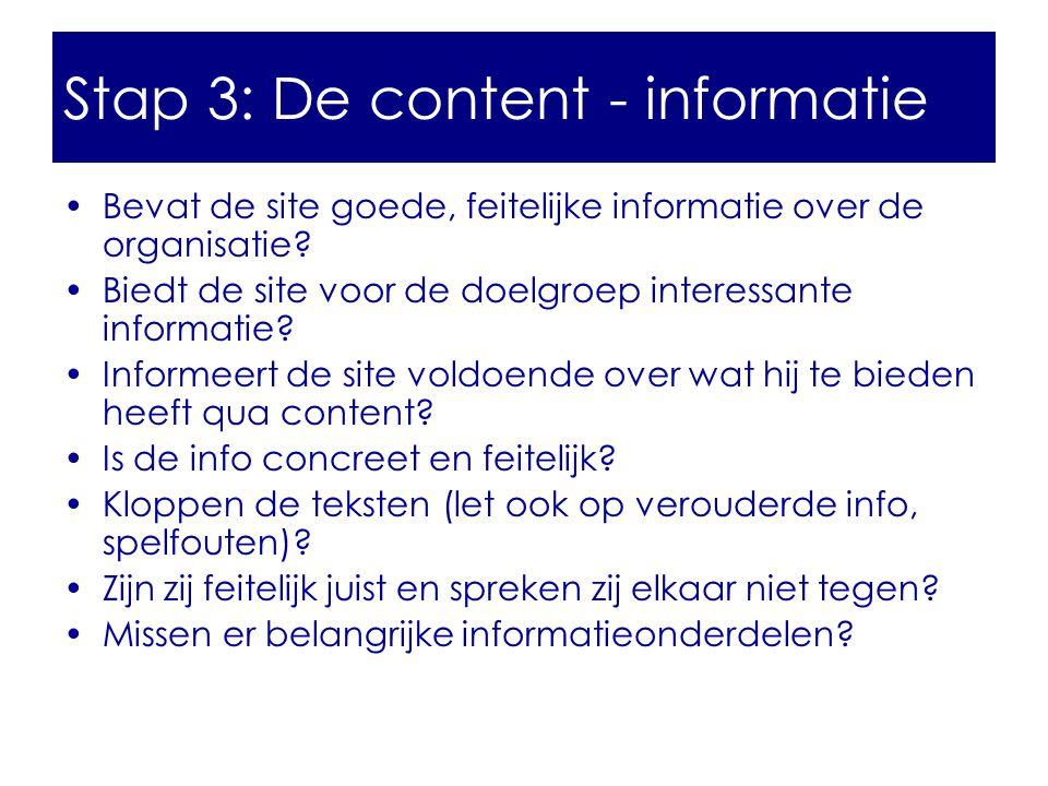 Stap 3: De content - informatie