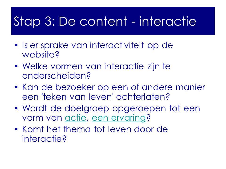 Stap 3: De content - interactie