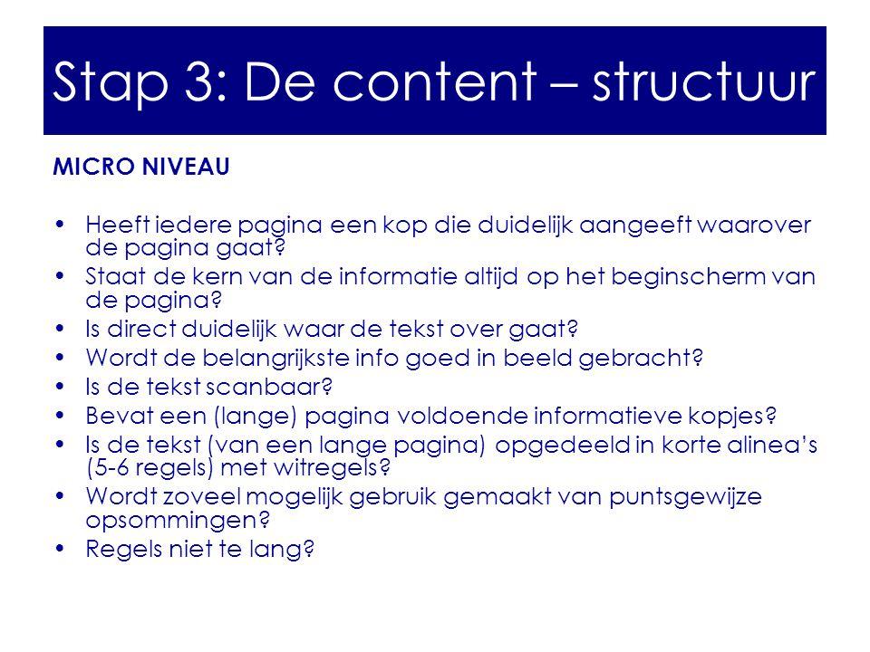 Stap 3: De content – structuur