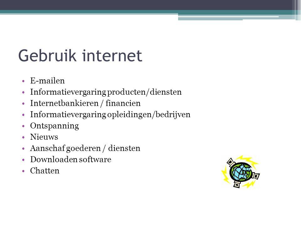 Gebruik internet E-mailen Informatievergaring producten/diensten